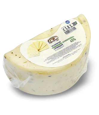 Semi-hard cheese «Rivnenskyy. Agropererobka» 45% with spices
