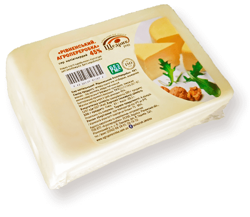 Semi-hard cheese «Rivne. Agropererobka» 45%
