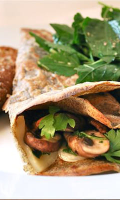 Buckwheat pancakes with mushrooms