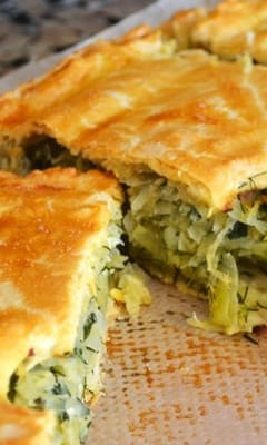 A pie with cabbage