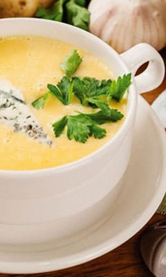 Cheese soup with white wine