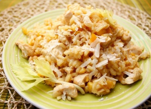 Risotto with chicken and two cheeses